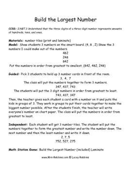 Build the Biggest Number 2nd Grade 2.NBT.1