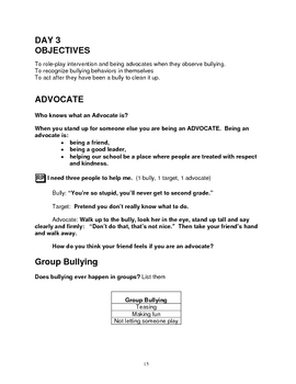 Bullying Prevention - First Grade