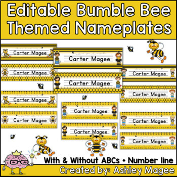 Bumble Bee Themed Nameplate/Deskplate/Nametags