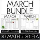 Bundle - Common Core Crunch March - Math & ELA CCSS Printables