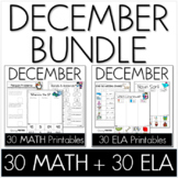 Bundle - Common Core Crunch December - Math & ELA CCSS Printables
