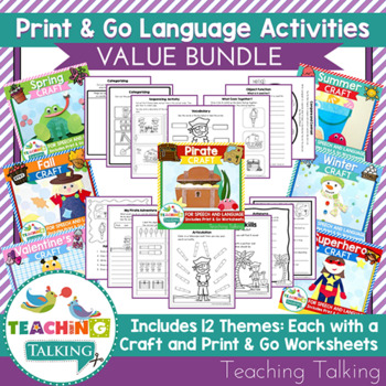 Bundle of Themed Craftivities (especially for SLPs!)