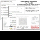 Business Math Vocabulary Exams Test Pack 2