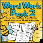 Busy Bees Word Work Pack #2:  Long Vowels & More Sight Words