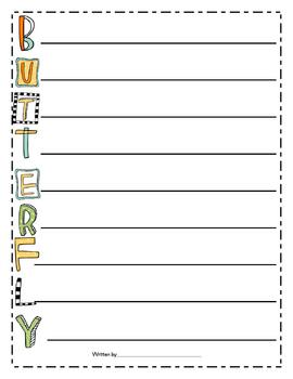 Butterfly Word Work and Writing