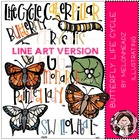 Butterfly life cycle LINE ART bundle by melonheadz