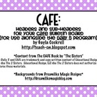 CAFE Bulletin Board Headers with polka dots or stripes background