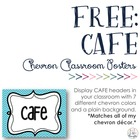 FREE CAFE Signs with Chevron Background