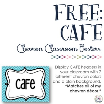 CAFE Signs with Chevron Background