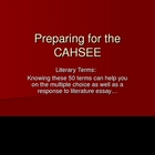 CAHSEE Literary Terms List PowerPoint