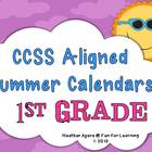 CCSS Aligned Summer Activity Calendars - 1st grade