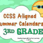 CCSS Aligned Summer Activity Calendars - 3rd grade