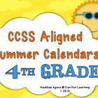 CCSS Aligned Summer Activity Calendars - 4th grade