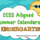 CCSS Aligned Summer Activity Calendars - Kindergarten