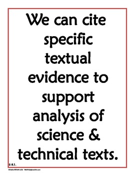 CCSS - Literacy in Science / Technical Subjects Gr 6-8 Pos