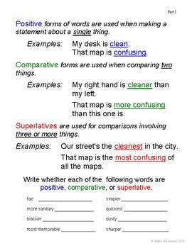 COMPARISONS: Lessons on Adjective and Adverb Comparisons