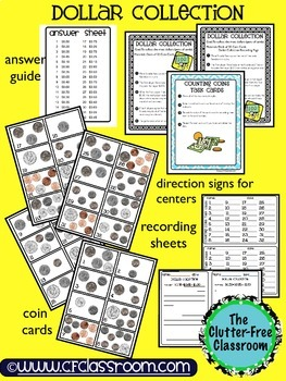 CREATE A DOLLAR coin / money math game / center / task car