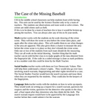 CSI The Case of the Missing Baseball an investigation