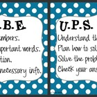 CUBE &amp; UPS Check Math Posters &amp; Student Reminder Page: Blu
