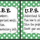 CUBE &amp; UPS Check Math Posters &amp; Student Reminder Page: Gre