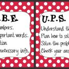 CUBE & UPS Check Math Posters & Student Reminder Page: Red