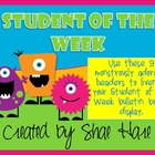 CUTE!!! Student of the Week - Monster - Bulletin Board Display