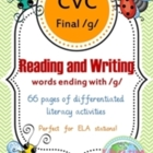 CVC Final /g/ Literacy Pack