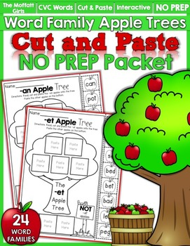 CVC Word Family Apple Trees NO PREP (Cut and Paste)