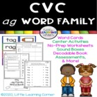 CVC Word Family __ag Words Writing Activities, Decodable B