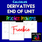 Calculus 1 Basic Derivatives Practice/Test - 4 versions!!