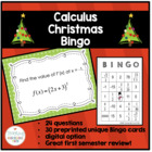 Calculus AB AP - Christmas Bingo - Review for Semester Exam