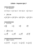 Calculus MC Integration Quiz A and B with Key