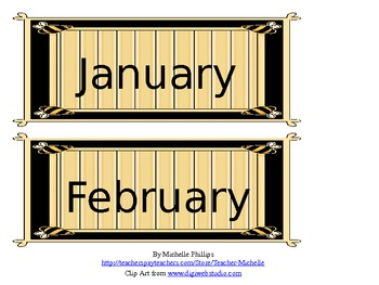 Calendar - Bumble Bee Border - Dates/Days of Week/Months/Years