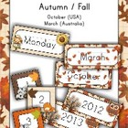 Calendar Cards Set - October Fall theme