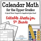 Calendar Math for Upper Grades  -- 5th Grade -- Editable Version
