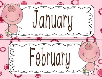 Calendar: Month, Day, Year Labels (Pig themed)