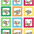 Calendar Number Squares Monkey Theme