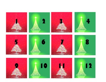 Calendar Numbers Flashcards- December