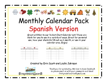 Calendar Pack- 12 Months of the year Spanish Version
