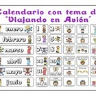 "Calendario con tema de ""Viajando en Avion"" - Spanish Airpl"