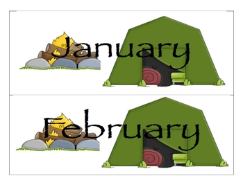 Camping Calendar Headings and Calendar Days