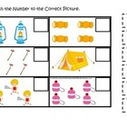 Camping themed Match the Number early math activity for pr