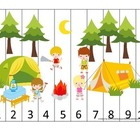 Camping themed Number Sequence Puzzle early math activity