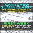 &quot;Can I Chew Gum in Class?&quot; First Day Class Rules Activity