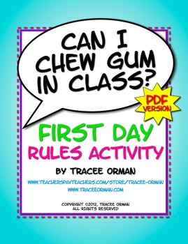 """Can I Chew Gum in Class?"" PDF First Day Class Rules Activity"