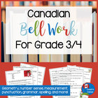 Canadian Daily Bell Work for Grade 3 &amp; 4