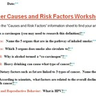 Cancer Causes and Risk Factors Worksheet with KEY