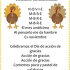 Cancion de noviembre - November Calendar Song, Spanish