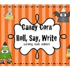 Candy Corn Dress-Up - A Roll, Say, and Write Game (Writing