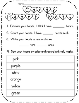 Candy Heart Math-Valentine Activity